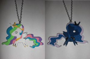 Celestia and Luna Reversible Paper Pendant (v2) by Bunnygirl2190