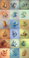 Pokemon Starters by Vogelspinne