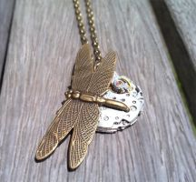 Drangonfly Watch Necklace by SteamDesigns
