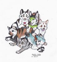 Puppy Pile by NatsumeWolf