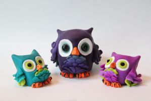Polymer Clay Owl Family by ShaidySkyDesign