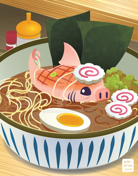 Roasted Loin Shark Ramen by inki-drop