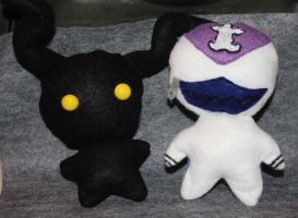 Heartless and Dusk chibi plushies closeup by lkcrafts