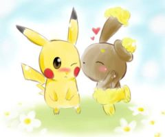 Buneary kissing pikachu by yellowhima