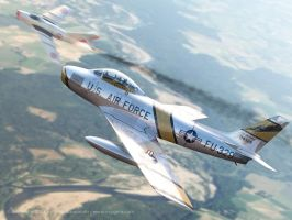 F-86 Sabre over Korea by Oxygino