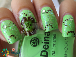 Green manicure with Fall One stroke flower by Danijella