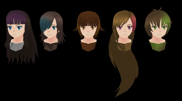 Yandere SImulator: Female Delinquent Hairs by Druelbozo