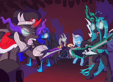 Pony Commission- Villain band time! by Princrim