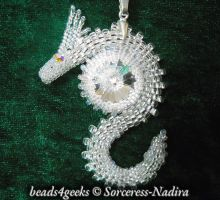 Crystal Swarovski Beaded Dragon Pendant by Sorceress-Nadira
