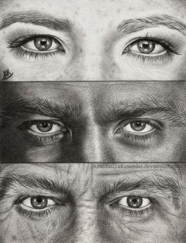 Fringe eyes - Olivia Dunham, Peter Bishop, Walter by AnastasiyaKosenko
