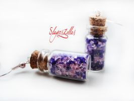 Bottles with pink crystals and purple sand by Benia1991