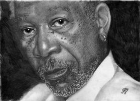 Morgan Freeman portrait HQ by th3blackhalo