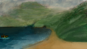 Test water colour panting on Photoshop by geordiebe