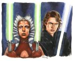 Anakin and Ahsoka by barbaramj
