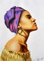 African Woman drawing by Rustamova