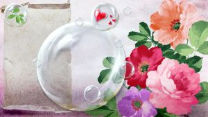 Flowers and bubble W-T by Ecathe