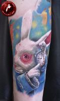 white rabbit by bullettattoobg
