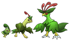 Pequailo, Jungrouse, and Quetzalord by T-Reqs