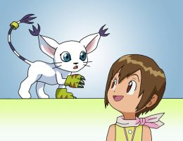 Gatomon and Hikari by dolcesunset