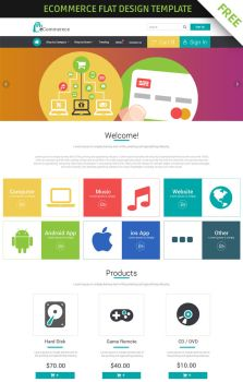FREE eCommerce flat design template by 123creative
