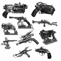 10 Steampunk Weapon PS Brushes by Spyderwitch