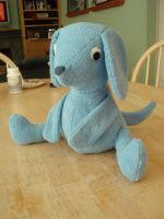 Blue terry cloth puppy view II by Bwabbit