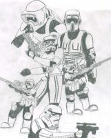 Scout Troopers+Stormtroopers by CrashyBandicoot