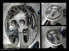 Skull toilet lid by Geist-art