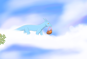 Cloudberry Picking Dragon by TheUnknownety