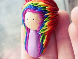 rainbow hair chibi by HopieNoelle