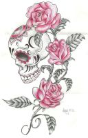 skull and roses by Amyiza58