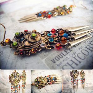 Shiny Steampunk Tribal earrings in golden tone by Verope