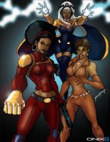 Misty Knight, Vixen, and Storm by J-Onix