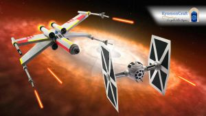 Quilling Star Wars X-Wing VS Tie Fighter by kyomoncraft