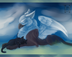 The Griffin and The Kitty by Husky-Foxgryph