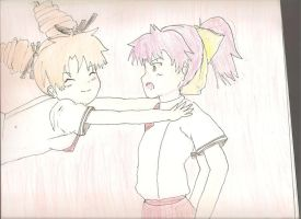 Baka and Test Miharu attack-hugging  Minami by sealandmintbunny