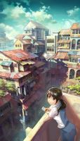 Girl on balcony by FeiGiap