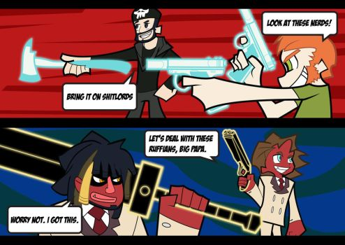 Angel Matt and Pat Vs Demon Woolie and Liam by rich-jammer