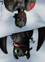 Hiccup and Toothless by HuskyIllustrations