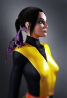 Kitty Pryde, Shadowcat with Lockheed Dragon by turquoiserabbit