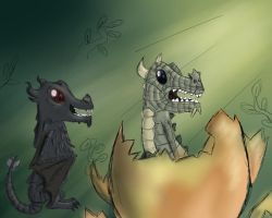 Baby Alduin and Paarthurnax by DimetraPaywer