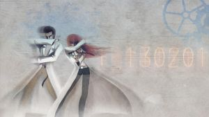 Makise and Okabe Through Time by B1itzsturm