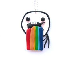 Puking Rainbows Meme Necklace by ClayMyDay