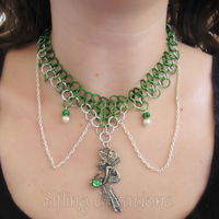 Green and Silver Fairy Chainmaille Necklace by merigreenleaf