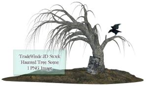 TW3D Haunted Tree Scene by TW3DSTOCK