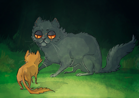 Yellowfang and Firepaw by deathnear