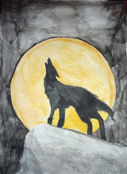 Wolf against the moon by darksteel234