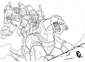 Grimlock charges by PiusInk