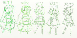 All of Kyuuki's designs so far! by Cookie-Catt