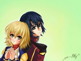 Cagalli Yula Athha and Athrun Zala 2 by 12L4e172s3s